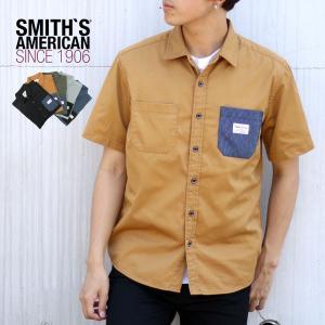 ワークシャツ メンズ SMITH'S AMERICAN スミスアメリカン 半袖 ツイル シャツ ストライプ アメリカン|marukawa7
