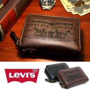 財布 メンズ 二つ折り Levis リーバイス 合成皮革 レザー ラウンドファスナー サイフ