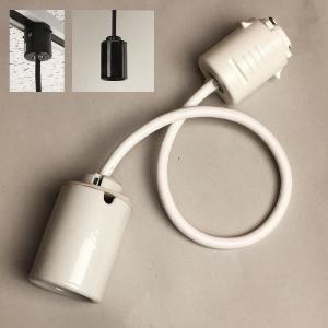 陶器製 ライティングレール・ダクトレール用 モーガルソケット コード長30cm 1灯用 電球ペンダントソケット LED電球対応 日本製。  白・黒|marumitsu-ys