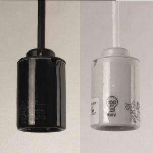 ペンダント器具 1灯用モーガルソケット キャブタイヤコード長:オーダー 白・黒(白熱灯・電球形蛍光灯・LED電球用)|marumitsu-ys
