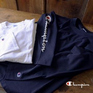 チャンピオン ロングスリーブ長袖Tシャツ C3-L415-XSmL メンズ トップス Tシャツ ロゴ 紺 白 Champion 1000849 |marumiya-world