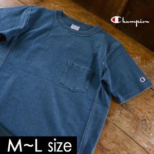 メール便不可 チャンピオン リバースウィーブインディゴポケット付き半袖Tシャツ C3-H307-MG メンズ トップス ティーシャツ シンプル 無地 Champion 1000853 marumiya-world
