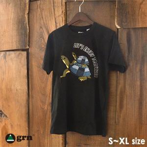 メール便可 ジーアールエヌ GU921034F-L(M)XL アニマルモチーフ半袖Tシャツ メンズ トップス パッチワーク風 リメイク風 刺繍 お揃い 親子 GRN 1000897|marumiya-world