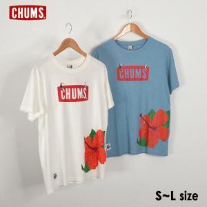 メール便可 チャムス CH01-1692-mLm Hibiscus CHUMS Logo T-shirt ハイビスカスチャムスロゴTシャツ メンズ トップス 半袖Tシャツ CHUMS 1000967|marumiya-world