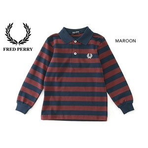 FRED PERRY フレッドペリー KIDS STRIPED PIQUE SHIRT SY9535-MG キッズ トップス シャツ ポロシャツ ボーダー 子供 子ども 4014945|marumiya-world