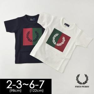 メール便可 フレッドペリー SY5592-7M SPLIT LAUEL WREATH T-SHIRT キッズ トップス Tシャツ 半袖 プリント ローレルリース シンプル 子供服 FRED PERRY 4020346|marumiya-world