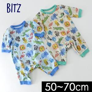 メール便可 ビッツ B430018-70M 2色ちびカバーオール ベビー ロンパース ロンパス 長袖 前開き 赤ちゃん 新生児 出産祝い お祝い ギフト 子供服 Bitz 6003849|marumiya-world