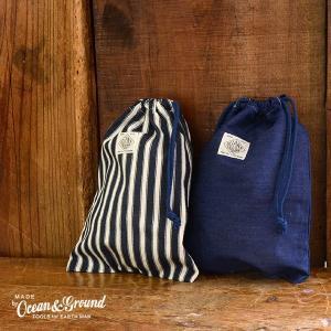 メール便可 オーシャンアンドグラウンド 1715920-FM BLUE BLUE 巾着中 キッズ ベビー きんちゃく 小物 袋 デニム シンプル 入学 入園 通園 OceanGround 7008158 marumiya-world