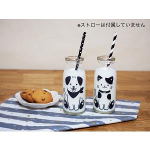 『わんちゃん&ねこちゃん』冷感ミルクボトル 牛乳スマイルグラス