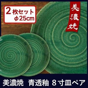 美濃焼 陶器 和食器 洋食器 ペア 25cm 青透釉8寸皿 2枚セット 日本製 ギフト 贈答 パスタ皿 ギフト おしゃれ|marumotakagishopping