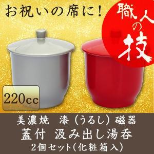 美濃焼 漆磁器 お祝い 蓋付き 汲み出し 湯呑 ペアセット 赤・銀 220cc 日本製 ギフト 贈答 来客用 プレゼント  ギフト 贈り物|marumotakagishopping