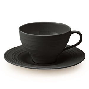 MIKASA ミカサ Swirl スワール カップ&ソーサー ブラック アメリカン おしゃれ かわいい シンプル 無地 食器 洋風 陶器 ギフト プレゼント|maruri-tamaki