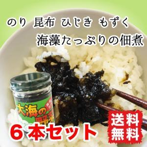 海苔の佃煮  大海の野菜  150g 6本セット 4種の海藻入り のり ひじき もずく 昆布 送料無料|marusakaisou