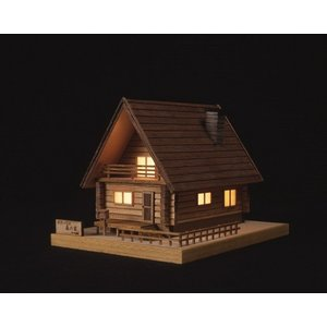 ミニ建築あかりシリーズ  No.2 ログハウス 森の家 【ウッディージョー木製建築組立キット】|marusan-hobby