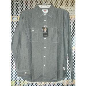 Dickies123M31WD04シャンブレーワークシャツ/ブラック|maruseru