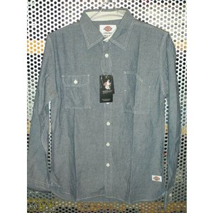 Dickies123M31WD04シャンブレーワークシャツ/ネイビー|maruseru
