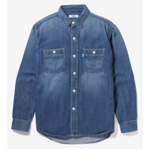 EDWIN デニムワークシャツ 長袖/中色ブルー ET2090-146|maruseru