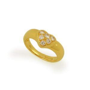 <6号>【美品!】ティファニー ハートモチーフ 6Pパヴェダイヤ リング 750イエローゴールド/K18YG ダイヤモンド6石入 指輪 <日本サイズで約6号> 中古|marushin-shichi