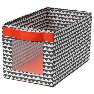 IKEA/イケア ANGELAGEN:ボックス25x44x25 cm ブラック/ホワ