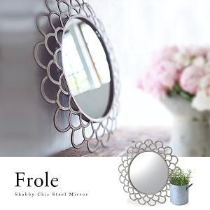 ウォールミラー 壁掛け鏡 シャビーシック 円形 おしゃれ 北欧 シンプル marusyou
