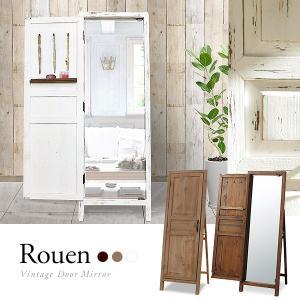 d)ドアミラー Rouen ルーアン 木製ドア付きスタンドミ...