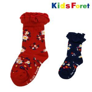 【子供服】 Kids Foret (キッズフォーレ) 花柄クルーソックス・靴下 14cm〜23cm B57332|marutaka-iryo