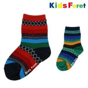 【子供服】 Kids Foret (キッズフォーレ) 幾何学柄クルーソックス・靴下 14cm〜20cm B57361|marutaka-iryo