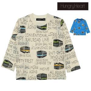【子供服】 Hungry Heart (ハングリーハート) 日本製JR在来線電車ロゴ総柄Tシャツ 80cm〜130cm K50805|marutaka-iryo