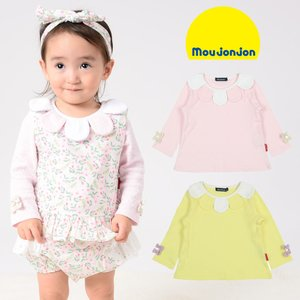 【子供服】 moujonjon (ムージョンジョン) 袖リボン付きお花衿スムースTシャツ 80cm,90cm M12851|marutaka-iryo