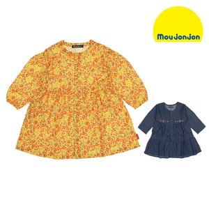 SALE 子供服 moujonjon (ムージョンジョン) 小花柄・デニム前開きワンピース 80cm〜140cm M50313|marutaka-iryo