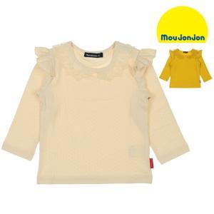 SALE 子供服 moujonjon (ムージョンジョン) レース衿・肩フリル付き無地Tシャツ 80cm,90cm M50885|marutaka-iryo
