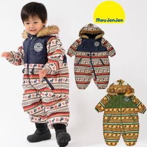 30%OFF:子供服 moujonjon (ムージョンジョン) 耳付ネイティブ柄スノーコンビ・カバーオール 80cm〜95cm M60196|marutaka-iryo