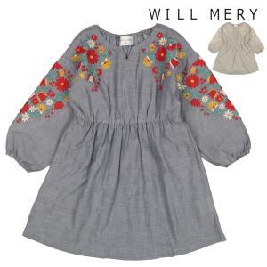 ポイント10倍2/22〜25:子供服 Will Mery (ウィルメリー) シャンブレーお花刺繍入りワンピース 80cm〜130cm N22311|marutaka-iryo