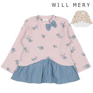 子供服 Will Mery (ウィルメリー) リボン付き裾切替花柄テレコTシャツ 80cm〜140cm N22806|marutaka-iryo