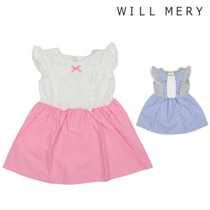 697c02e83571e  子供服  Will Mery (ウィルメリー) フリル付ドッキングワンピース 80cm〜130cm N40358