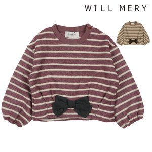 【子供服】 Will Mery (ウィルメリー) リボン付きブークレ裏起毛ボーダートレーナー 80cm〜130cm N60620|marutaka-iryo