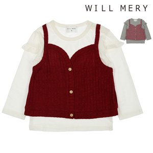 SALE 子供服 Will Mery (ウィルメリー) ニットキャミ着てる風Tシャツ 80cm〜140cm N60801|marutaka-iryo