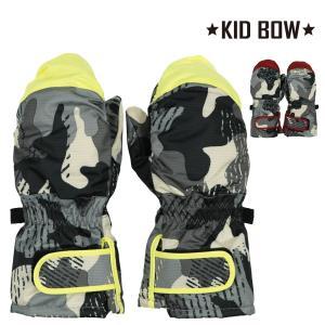 子供服 KID BOW キッドバウ 防水加工エステル迷彩柄手袋・スノーグローブ・ミトン S,M N97855|marutaka-iryo