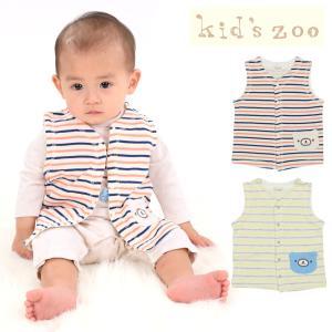 【子供服】 kids zoo (キッズズー) くまポケット付接結ボーダーベスト 70cm〜95cm W10200|marutaka-iryo
