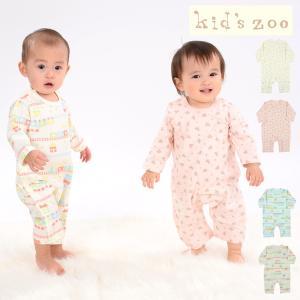 【子供服】 kids zoo (キッズズー) スムース汽車柄/お花柄Tオール・ロンパース 70cm,80cm W10704|marutaka-iryo