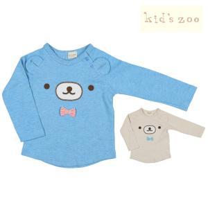 【子供服】 kids zoo (キッズズー) スムースくまラグランTシャツ 70cm〜95cm W10802|marutaka-iryo