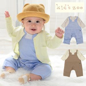 子供服 kids zoo キッズズー くまオーバーオール風Tオール・ロンパース 70cm,80cm W12700|marutaka-iryo
