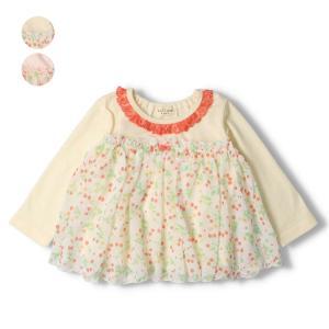 【子供服】 kids zoo (キッズズー) 花柄・無地接結パターンメッシュTシャツ 70cm〜95cm W20800|marutaka-iryo
