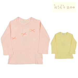 【子供服】 kids zoo (キッズズー) りぼん付テレコジャガードTシャツ 70cm〜95cm W20803|marutaka-iryo