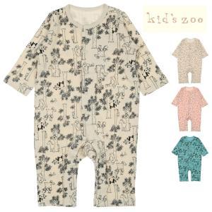 【子供服】 kids zoo (キッズズー) 動物と森・さくらんぼ総柄Tオール・ロンパース 70cm,80cm W50700|marutaka-iryo