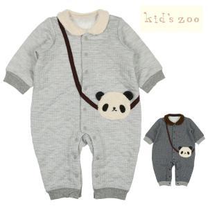 【子供服】 kids zoo (キッズズー) パンダ付ニットキルトトレーナーオール・ロンパース 70cm,80cm W50712|marutaka-iryo