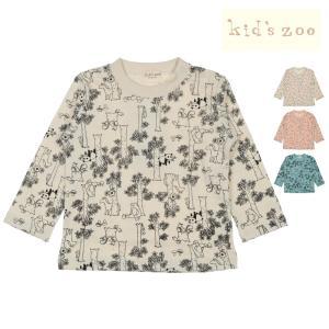 【子供服】 kids zoo (キッズズー) 森と動物・さくらんぼ総柄Tシャツ 70cm〜95cm W50800|marutaka-iryo