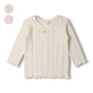 ポイント10倍2/22〜25:SALE 子供服 kids zoo (キッズズー) 胸リボンモチーフ付フライスTシャツ 70cm〜95cm W60800|marutaka-iryo
