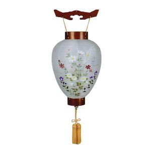 盆提灯 壺型  御所提灯 別選 萩の香 絹二重絵入  絹 二重 木製 電池式 コードレス LED仕様|marutomi-a