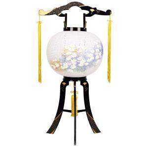 盆提灯 置き型提灯 廻転灯  あかり 綾型蒔絵 絵入り 11号  プラスチック製 電気コード式 回転灯 (回転 筒付き) marutomi-a